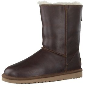 UGG Australia Classic Zip Brown Leather Boots 38
